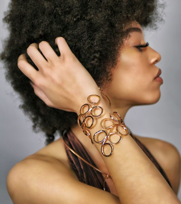 Clover Rose Gold Plate Cuff - Lifestyle