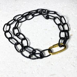 Hestia Small Oval Necklace Oiled Black